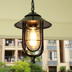 Village-Black-Metal-Glass-Bird-Cage-Outdoor-Waterproof-Pendant-Light-Porch-Patio