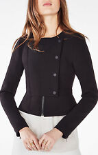 BCBG MAX AZRIA $230 Jaymes Black Peplum Fitted Moto Blazer Cropped Jacket XS/P/0