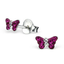 Chicas 925 Sterling Silver Petite cristales rosa caliente Aretes Mariposa En Caja