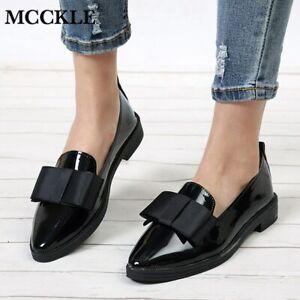 Zapatos Planos De Cuero Para Mujer Moda Mocasines Con Lazo Otoño Casual Elegante Ebay