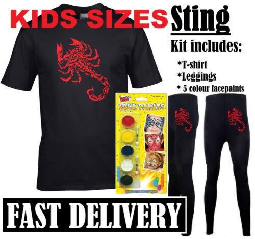 Costume Sting 90S Retrò Sports LOTTATORE WRESTLING Kids Bambino Kit Rosso