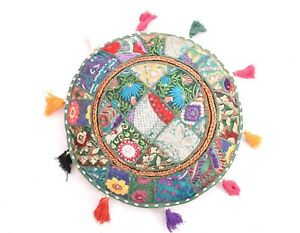 Indian-16-034-10pcs-Bohemian-Vintage-Patchwork-Round-Meditation-cushion-cover-Throw