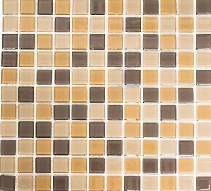Mosaico piastrella vetro beige/marrone muro cucina bagno: 62-1302_b ...