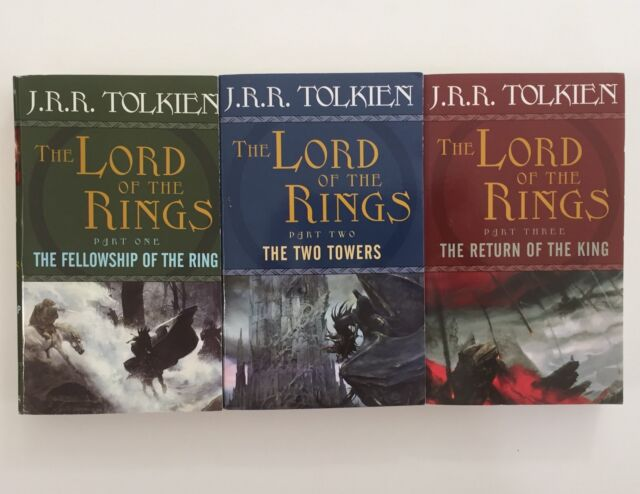 3 Lord Of The Rings Books Trilogy Fellowship of Ring Two Towers Return of King