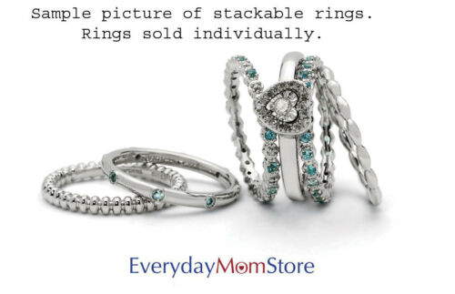 Sterling Silver Stackable Ring 5 mm Low Set Round Aquamarine stone QSK510
