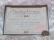 MATTEL HEATHER FONSECA BARBIE DOLL CERTIFICATE OF AUTHENTICITY COA ONLY