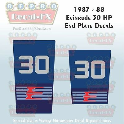 1985 Evinrude 30 HP End Plate Decals Outboard Reproduction 2 Pc Marine Vinyl