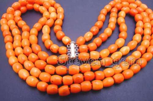 """7mm Thick Slice Pink Natural  3 Strands Coral Necklace for Women 18-20/"""" nec5774"""