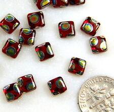 20 Flat Square Beads, 6x6mm, Red w/Peacock Finish, Preciosa Czech Beads, 20 Bead