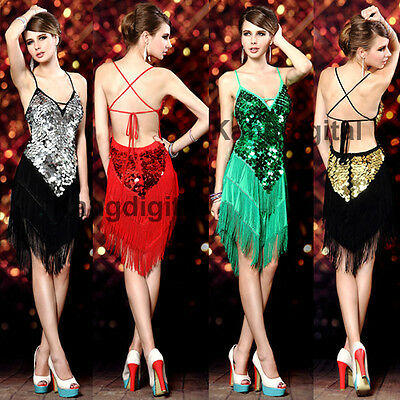 Sexy Lady Tassel Asymmetric Hem Latin Dance Cocktail Sequin Evening Party Dress
