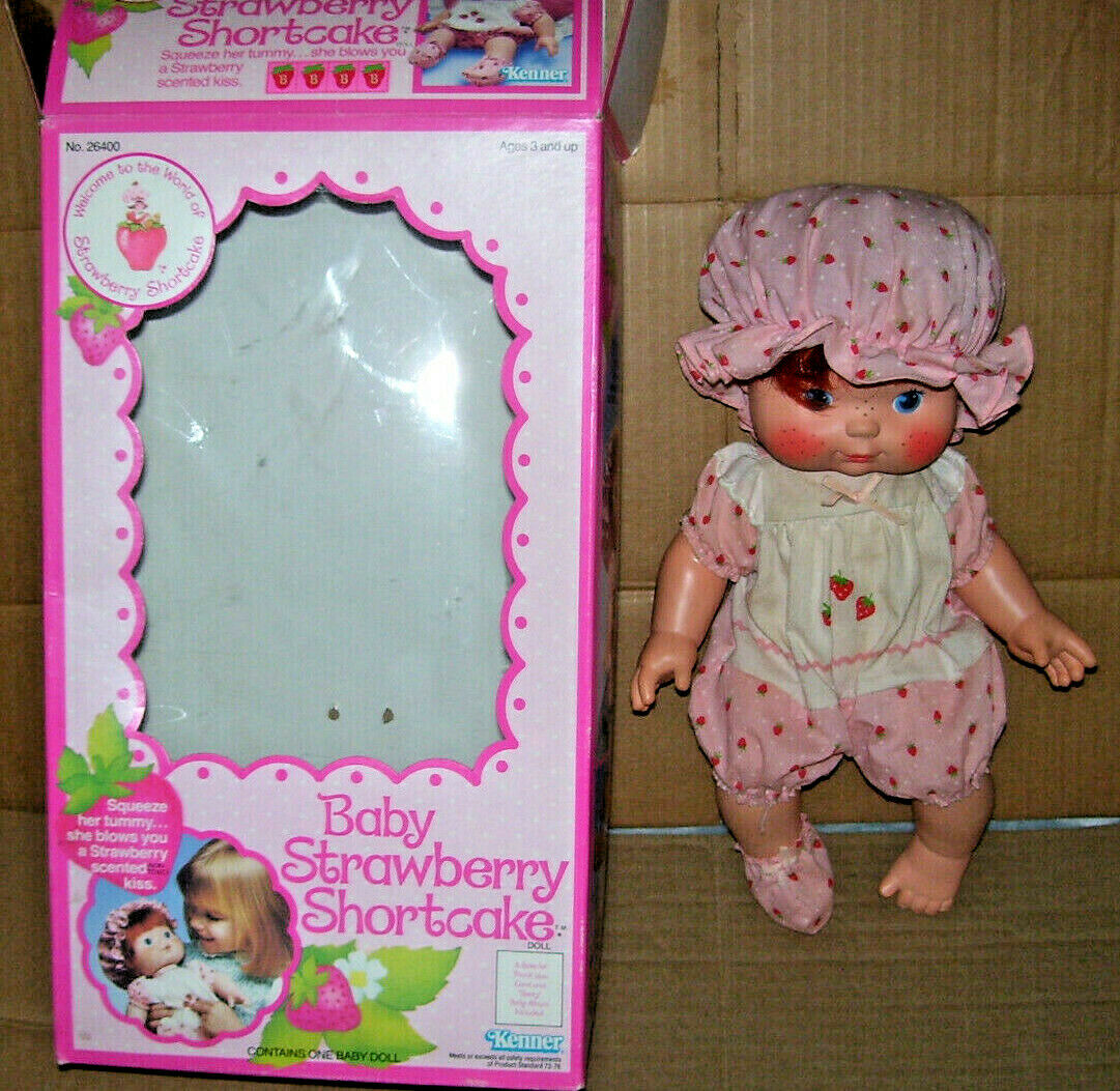 Gran Vintage Strawberry Shortcake Bebé Strawberry Shortcake caja con artículos de papel
