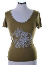 Hugo Boss Womens T-Shirt Small Khaki Green Polyamide Spandex