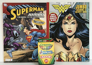 2-DC-Wonder-Woman-amp-Superman-Jumbo-Coloring-amp-Activity-Books-24-Crayons