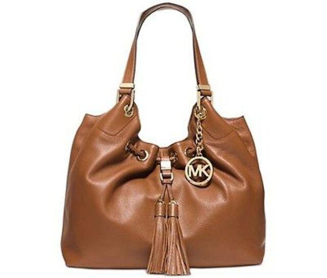 Michael Kors Camden Large Luggage Brown Leather Drawstring Tassels Shoulder Bag