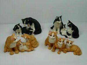 Lot-4-famille-chats-en-resine-roux-et-noir-10-cm