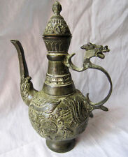 Chinese Bronze Hand-carved Dragon Phoenix Teapot With Kangxi Mark