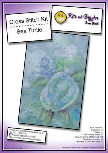 Sea Turtle Cross Stitch Kit 19.5x30.5cm with DMC thread and fabric