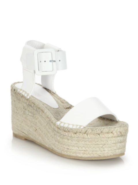 f55136b188145 Vince Abby White Plaster Leather Espadrille Platform Wedge Sandal Sz 8 $395  NEW
