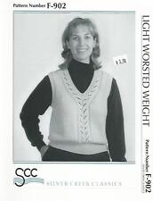Cascading Leaves Vest Sweater Knitting Pattern F-902 Silver Creek Womens 36-44