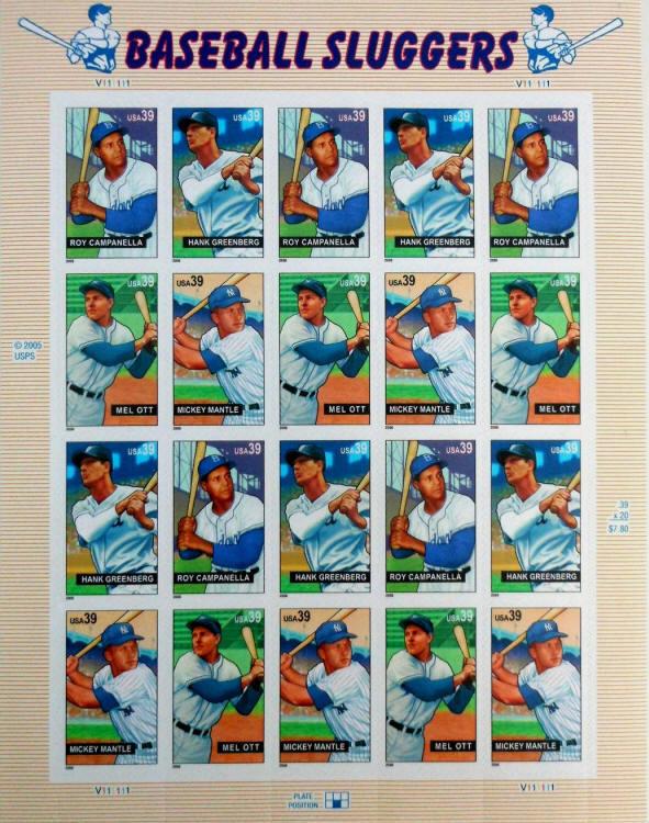 2006 39c Baseball Sluggers, Sheet of 20 Scott 4080-83 M