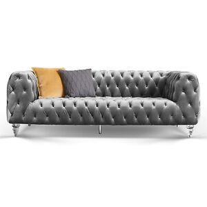 Details Zu 3 Sitzer Sofa Chesterfield Samt Grau Acryl Füße Kristall Couch Garnitur Luxus