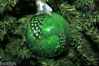 Pier 1 Imports Lot Of 5 3 Clear Glass Round Ball Ornament W/ Green Feathers