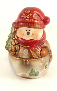 Stoneware-Snowman-Holiday-Christmas-Small-Candy-Jar-Decoration-with-lid