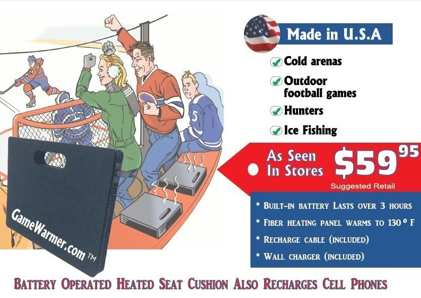 GameWarmer™- Rechargeable Battery Operated Heated Stadium Seat  Cushion 5+ hours  online shopping sports
