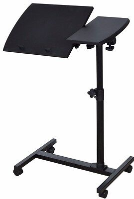 Angle Height Adjustable Rolling Laptop Notebook Desk Over Sofa Bed Table Stand