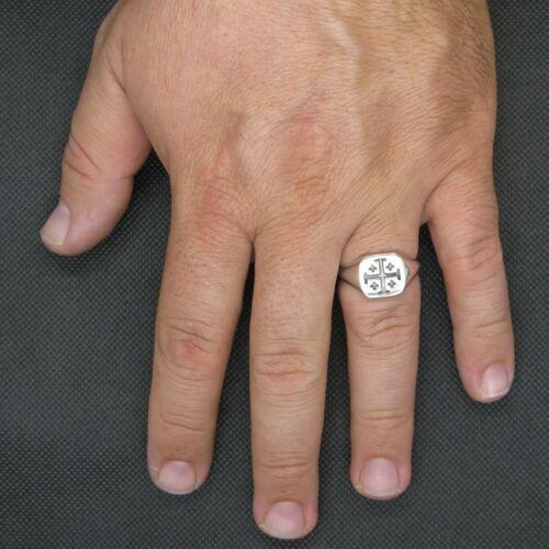 Echte Sterling Silber Herren Ring Kreuz Jerusalem Massiv Gestempelt 925
