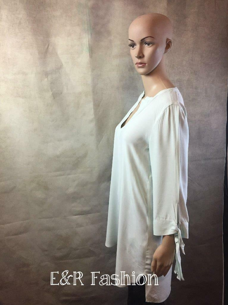 ZARA LONG TUNIC TOP WITH TIE DETAIL TO SLEEVES SIZE SMALL (B4) REF  9479 061