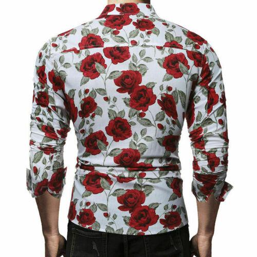 Slim Men Luxury Long Sleeve Tops Tee Fit Casual Rose Flower Printed Shirts
