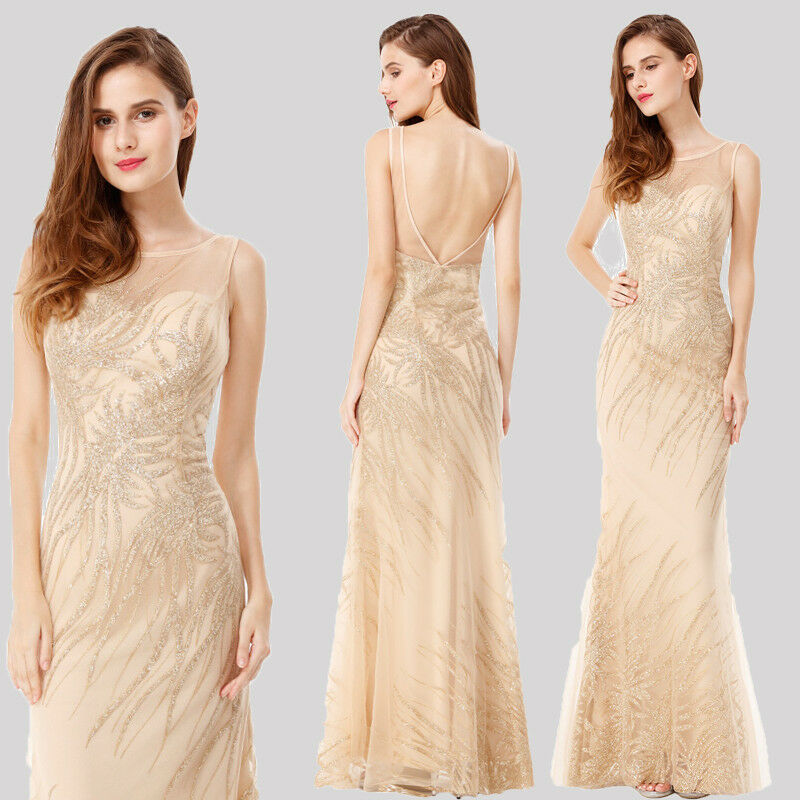 Ever-Pretty Long Sequined Bridesmaid Dresses Sleeveless Mermaid Party Gown 08929