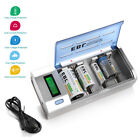 Universal LCD Smart Rechargeable AA AAA C D Size 9V NI-MH NI-Cd Battery Charger