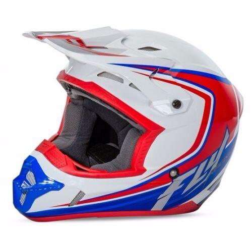 FLY RACING KINETIC FULLSPEED HELMET White//Red//Blue  ALL SIZE ATV MX BMX