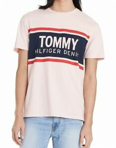Tommy-Hilfiger-Mens-T-Shirts-Pink-Size-2XL-Crewneck-Logo-Graphic-Tee-39-133