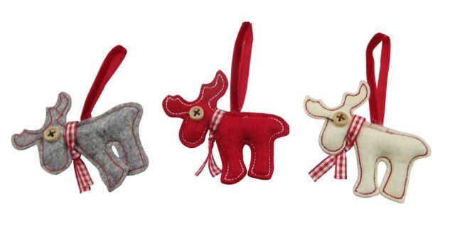 3 Scandi Felt Hanging Reindeer / Moose / Stag / Deer Christmas Tree Decorations