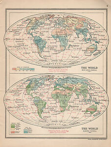 1915 MAP ~ THE WORLD ~ MEAN ANNUAL RAINFALL & SEASONAL ~ PREVAILING ...