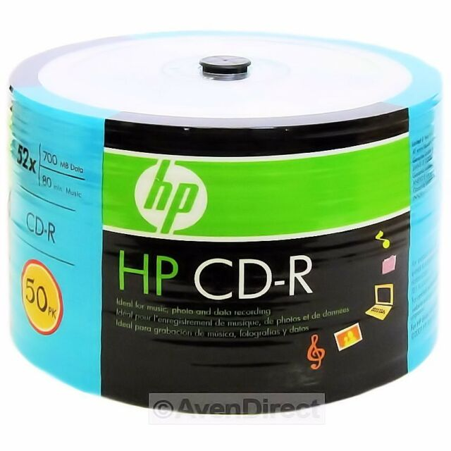 100 New HP 52X CD-R 700MB 80min Blue Branded Logo CDR [FREE USPS Priority Mail]