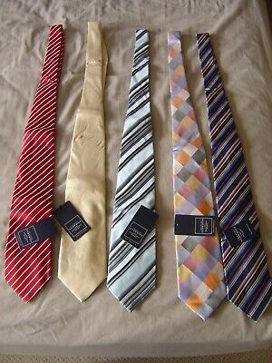 tags SILK Charles Tyrwhitt Tie Stripe Blue Orange Gold Pink Cream NEW Ref O