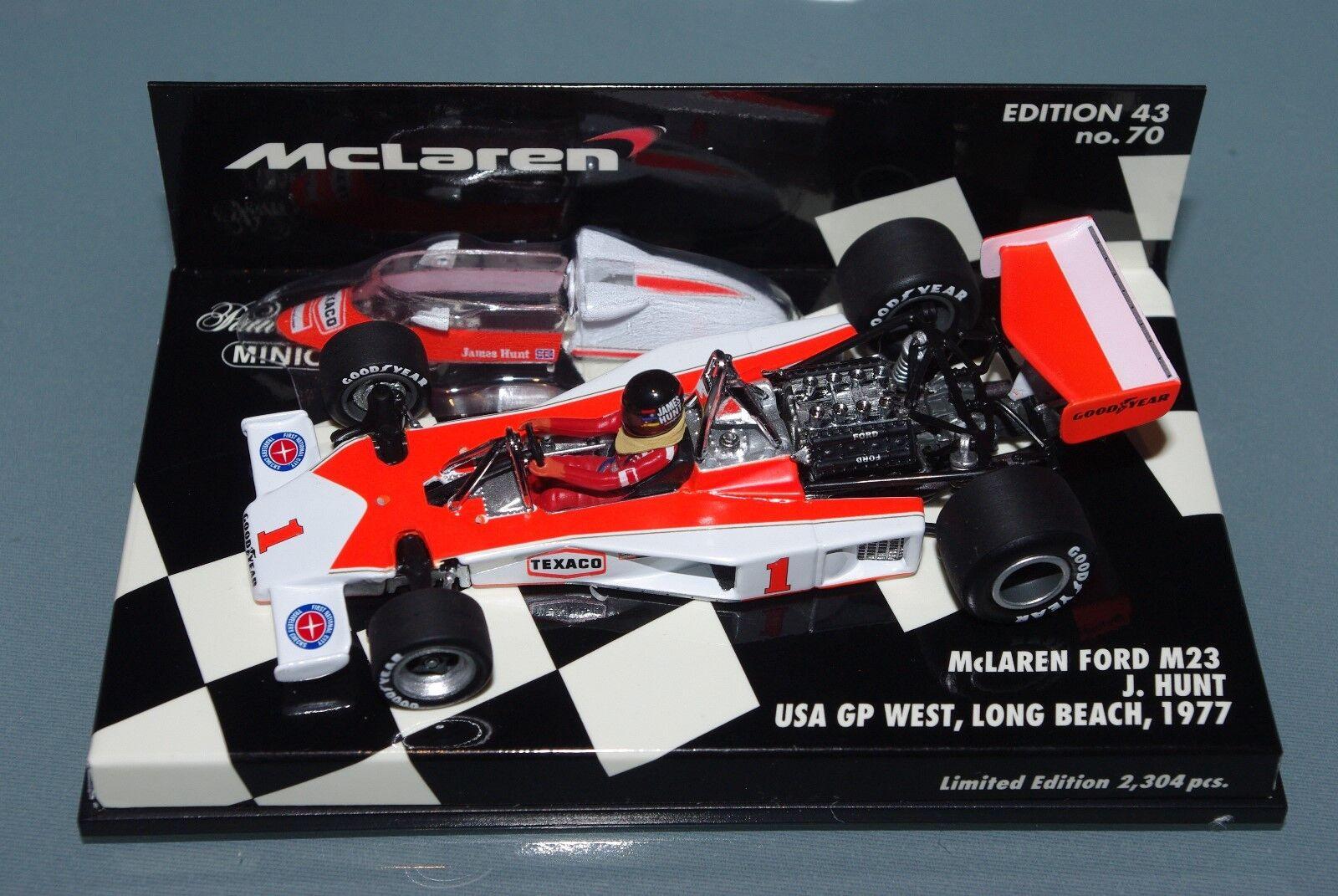 Minichamps 1/43 F1 McLaren Ford M23 James Hunt-USA GP West West West Long Beach 1977 b28031