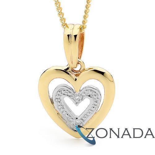 New Romantic Diamond Set Fancy 9k 9ct Solid Yellow Gold Hearts Pendant w/ Chain