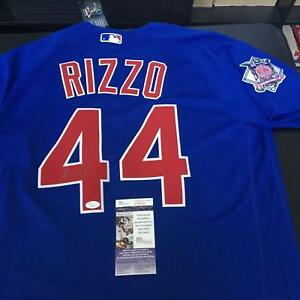 best service 5e340 4ac84 Details about Anthony Rizzo Signed Autographed Authentic Majestic Chicago  Cubs Jersey JSA COA
