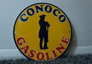 VINTAGE-CONOCO-GASOLINE-PORCELAIN-SIGN-GAS-OIL-SERVICE-STATION-PUMP-MINUTEMAN-AD
