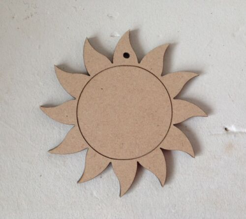 1 x Suns Blank Craft Shapes Decoupage 15cms Wooden MDF Tags Bunting