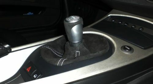 FITS BMW E46//E36//Z3//Z4 BLACK SUEDE GEAR BOOT SILVER ST