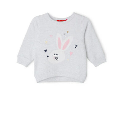 NEW Sprout Girls Essential Crew Neck Sweat - Bunny/ Grey Marle