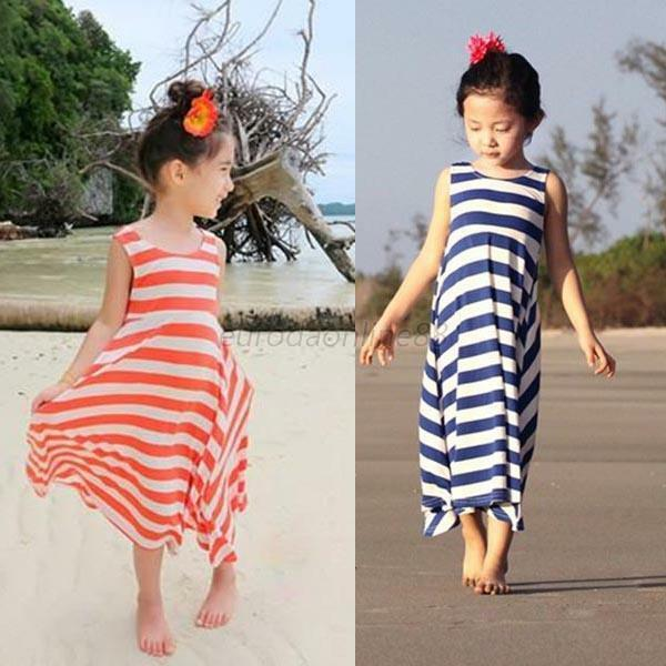 Kids Girl Summer Beach Dress Casual Wear Stripes Fringe Streak Sundress Clothes