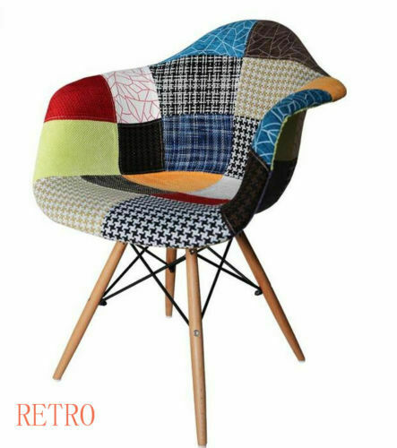 Patchwork Eiffel Dining Chair Lounge Fabric Retro Vintage Chairs .