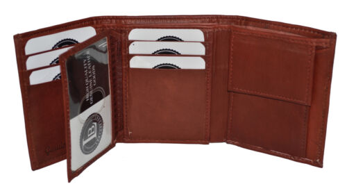 KIDS BOYS SLIM  COMPACT FLAP ID AND COIN POCKET TRIFOLD WALLET BROWN